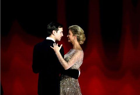 Entertainment, Dress, Coat, Performing arts, Suit, Formal wear, Interaction, Romance, Love, Gesture,