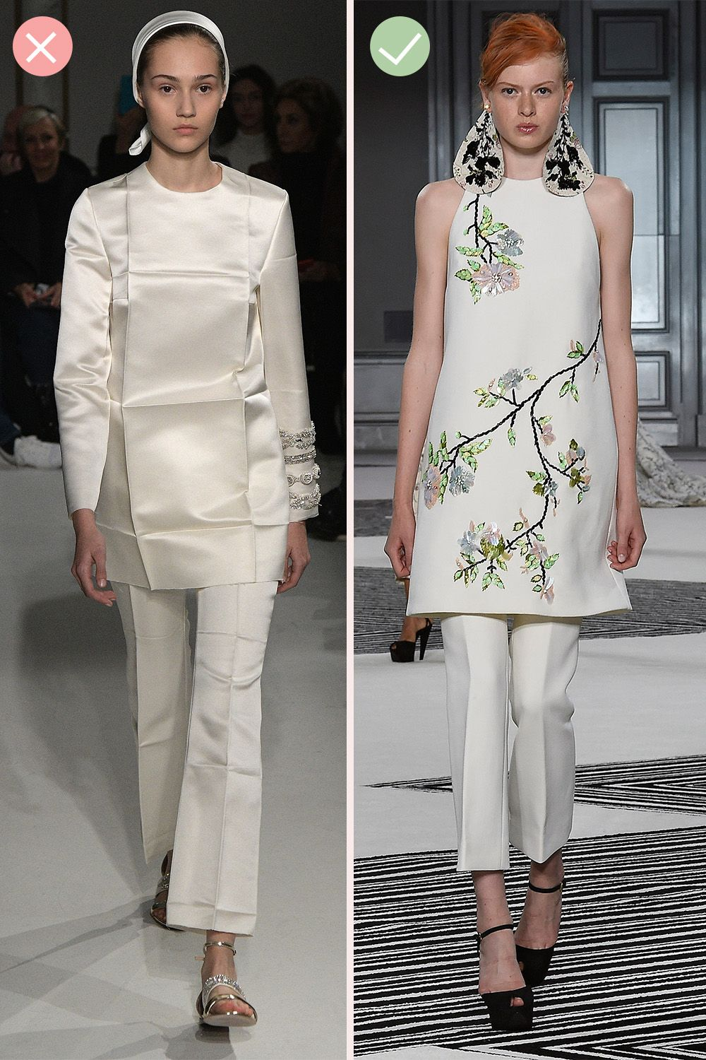 <p>Giambattista Valli (left) can do purposeful fresh-from-the-packet folds, but IRL, this is best left to the couturiers—wrinkles indicate carelessness and chaotic living arrangements, neither of which afflict you. Certainly not.   </p>