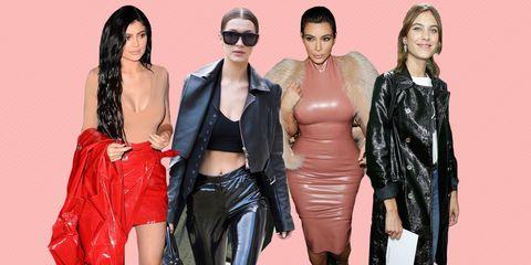 Clothing, Eyewear, Textile, Style, Sunglasses, Fashion, Jacket, Leather, Latex, Fashion model,