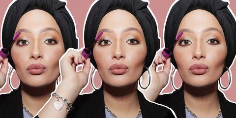lip, cheek, finger, brown, skin, hairstyle, eyelash, forehead, eyebrow, violet,