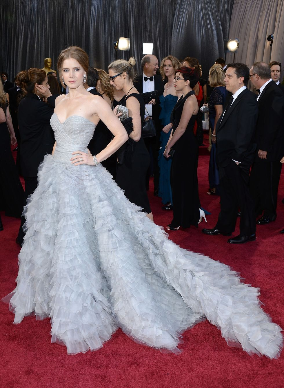Amy Adams, 2013 Giselle from Enchanted but make it fashun . Adams wowed in an Oscar de la Renta dress with an ethereal frothy train that she helped envision with the designer.