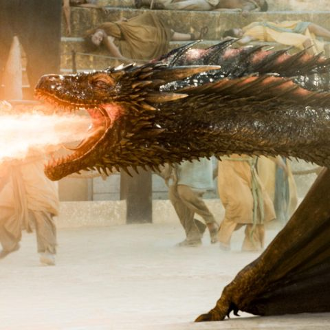 'Game of Thrones' Fire-Breathing Dragon Lamp From Etsy