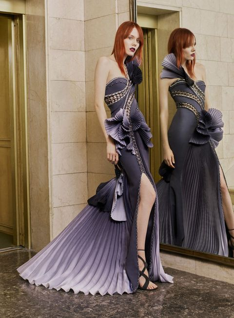 "<p>The first of two Atelier Versaces goes to <a href=""http://www.marieclaire.com/celebrity/a17952/rosie-huntington-whiteley-engaged/"" target=""_blank"" data-tracking-id=""recirc-text-link"">the future Mrs. </a><em data-redactor-tag=""em"" data-verified=""redactor""><a href=""http://www.marieclaire.com/celebrity/a17952/rosie-huntington-whiteley-engaged/"">Mechanic</a></em>, who would appear especially statuesque and radiant in this frilled, pleated number—though in a shade of white or metallic, like she usually prefers for the red carpet.&nbsp;</p>"