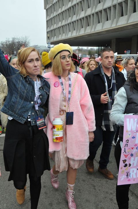 <p>For the Women's March earlier this month, Katy Perry went head-to-toe pink, the movement's unofficial color, complete with Planned Parenthood and Hillary Clinton pins.&nbsp;</p>