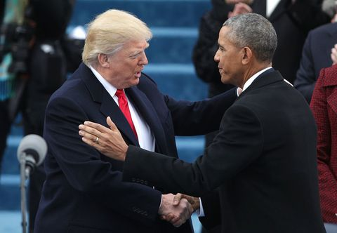 Donald Trump and Barack Obama at the Presidential Inauguration