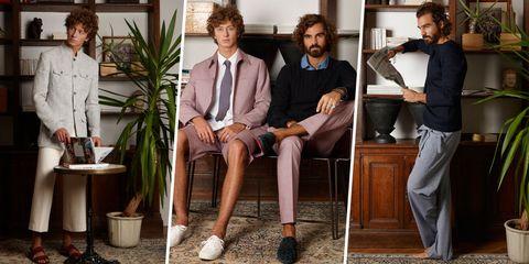 Face, Leg, Trousers, Shirt, Dress shirt, Flowerpot, Sitting, Houseplant, Suit trousers, Interior design,