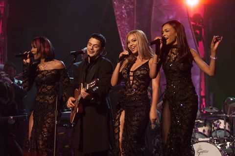 "<p>Beyoncé wore a black lace gown while performing with Destiny's Child and Alejandro Sanz<span class=""redactor-invisible-space"" data-verified=""redactor"" data-redactor-tag=""span"" data-redactor-class=""redactor-invisible-space""> at the 44th Annual Grammy Awards in 2002. </span></p>"