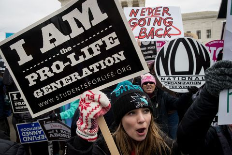 Protester At The March For Life Rally 2017