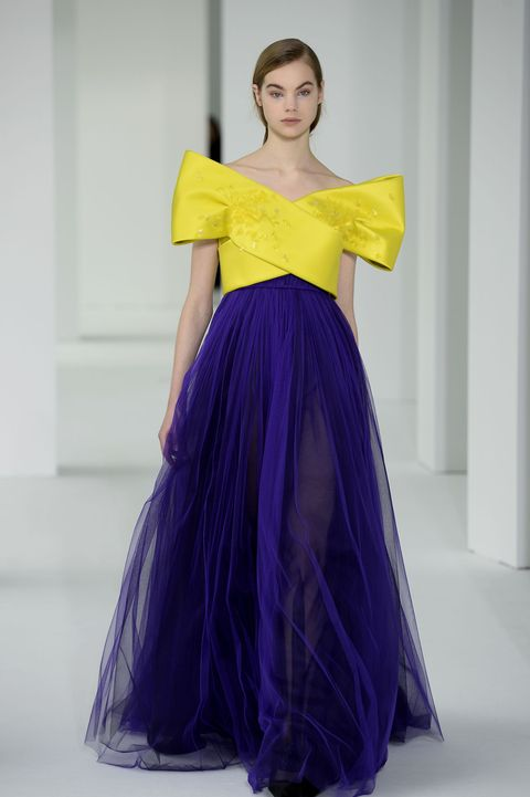 <p>You'll have your pick of poppy colors this year (your fave), but may we recommend a yellow? Or a marigold, maybe? Delpozo's got the right idea pairing a crossover bodice with a complementary violet.&nbsp;</p>