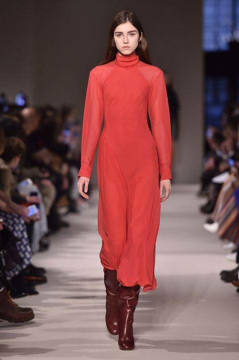 "<p>Red is your power color, but it's also one of *the* colors of the season (it's kind of a tossup with <a href=""http://www.marieclaire.com/fashion/news/g4457/fall-2017-it-color/"" target=""_blank"" data-tracking-id=""recirc-text-link"">this one</a>, but good thing they look great together). Try one of the many dresses that walked the runway, such as this turtleneck number from Victoria Beckham or Brock Collection's swoon-y off-the-shoulder gown. Whatever you pick, though, make sure it's super saturated. No wimpy ketchup water here.&nbsp;</p>"