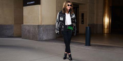 Clothing, Street fashion, White, Fashion, Jeans, Jacket, Leather, Snapshot, Outerwear, Trousers,
