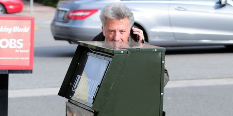 """<p>If Alec Baldwin is the Anger archetype of celebrity-paparazzi relations, Dustin Hoffman must be Joy. There's tons of evidence of him goofing around with those who make their living trailing him, but our favorite has to be the <em data-redactor-tag=""""em"""" data-verified=""""redactor"""">Hide and Seek</em> series, in which Hoffman crouches behind various objects, such as trees and newspaper vending machines.&nbsp;</p>"""
