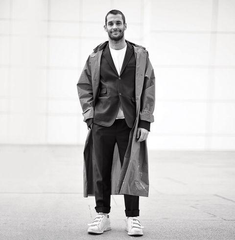 White, Photograph, Black, Fashion, Standing, Street fashion, Snapshot, Black-and-white, Human, Outerwear,