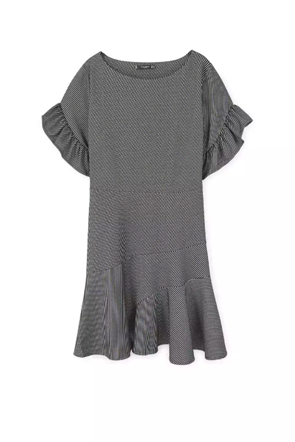 """<p>More structured than it looks (read: okay for office) and will increase your shoulder width significantly (in a fashion-y way). </p><p>$50, <a href=""""http://shop.mango.com/US/p0/women/clothing/dresses/short-/ruffled-sleeve-dress?id=83030294_95&n=1&s=prendas.vestidos"""" target=""""_blank"""" data-tracking-id=""""recirc-text-link"""">shop.mango.com</a>.</p>"""