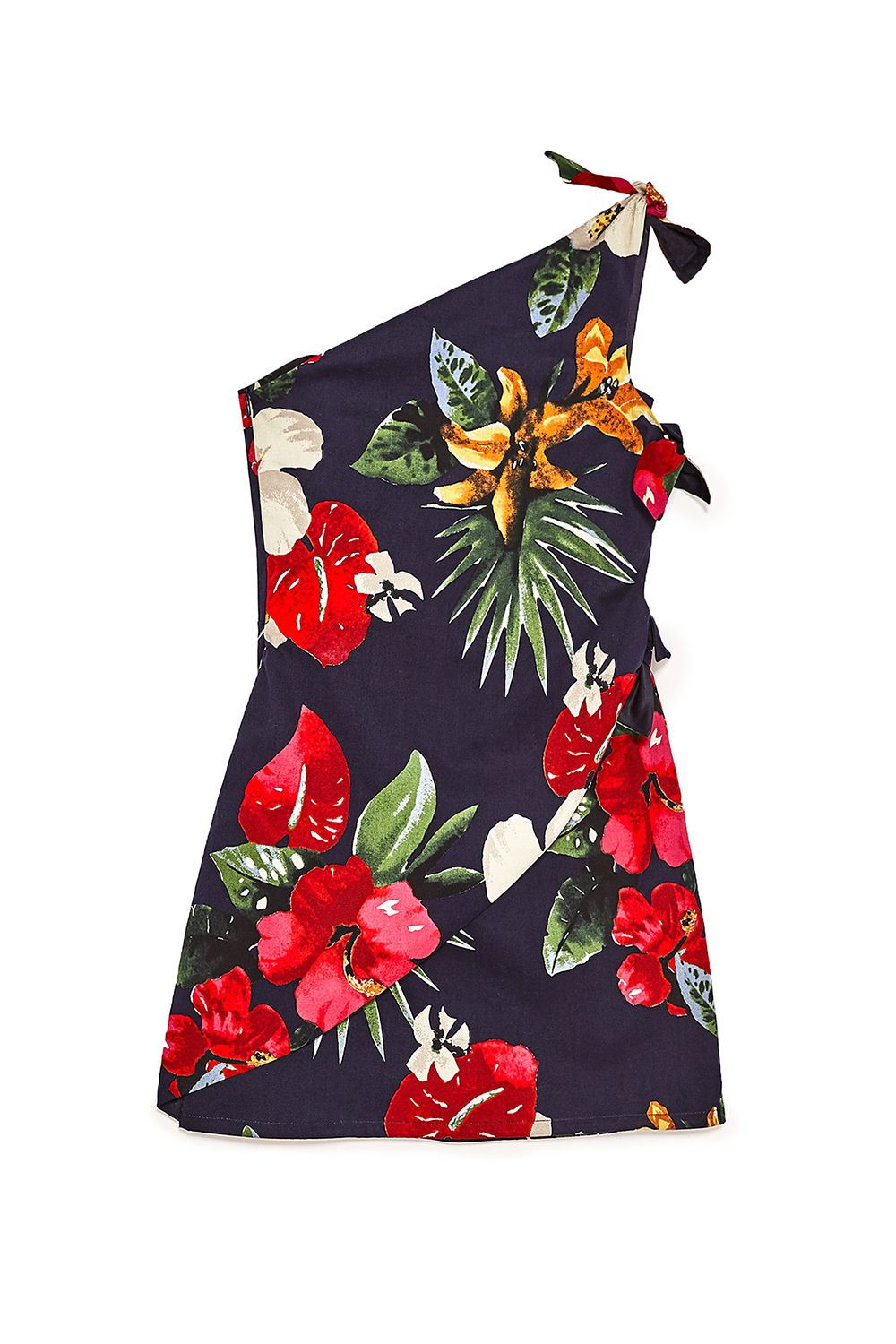 """<p>Because you haven't quite figured out how to style a tropical camp shirt, but you know you can wear the heck outta a one-shoulder mini.</p><p>$50, <a href=""""http://www.zara.com/us/en/trf/dresses/printed-dress-with-asymmetric-hem-c358031p4368561.html"""" target=""""_blank"""" data-tracking-id=""""recirc-text-link"""">zara.com</a>.</p>"""