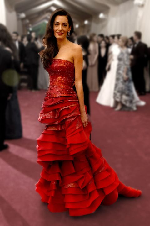 Fashion model, Dress, Gown, Clothing, Fashion, Red, Shoulder, Haute couture, Red carpet, Carpet,