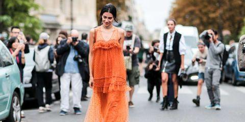 Street fashion, Fashion, Orange, Suit, Dress, Haute couture, Event, Photography, Fashion design, Style,