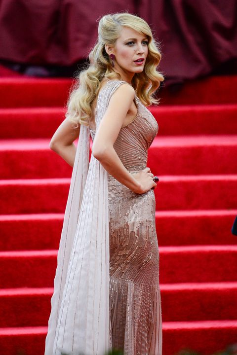 Clothing, Fashion model, Red, Blond, Dress, Beauty, Fashion, Shoulder, Hairstyle, Pink,