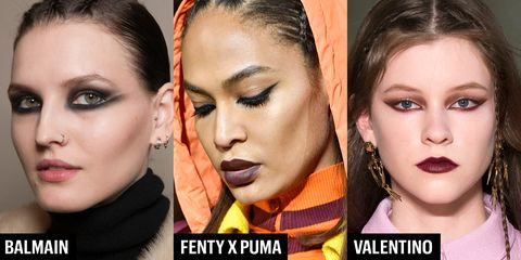"""<p>As far as feline flicks were concerned, key artists were laying 'em on thick. Balmain went full-on warrior with smudged-out wings accented with white liner to extend the whites of the eyes. At Fenty x Puma, there were a variety of liner statements including pronounced black flicks extended out to be&nbsp;parallel with&nbsp;tail of the brow. And at Valentino, there were reverse burgundy cat eyes to match the dark berry lips for a <a href=""""http://www.marieclaire.com/beauty/news/g4050/spring-2017-beauty-trends/"""" target=""""_blank"""" data-tracking-id=""""recirc-text-link"""">monochrome makeup</a> effect.</p>"""