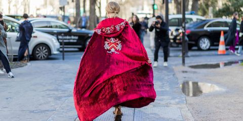 Pink, Red, People, Fashion, Outerwear, Street fashion, Magenta, Street, Dress, Infrastructure,