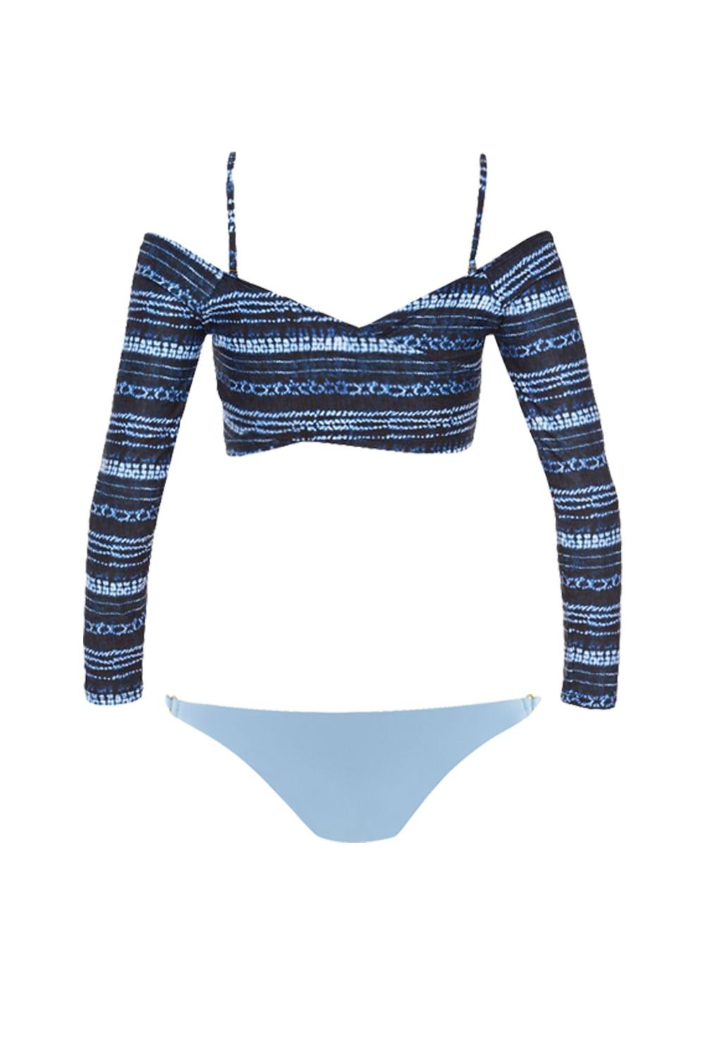 """<p>Another IRL-fashion-inspired lewk that emphasizes a body part most of us are weirdly proud of.</p><p>Top, $125, <a href=""""https://www.lspace.com/collections/swim/products/midnight-caravan-callie-top-itsy-bottom"""" target=""""_blank"""" data-tracking-id=""""recirc-text-link"""">lspace.com</a>; bottoms, $84, <a href=""""https://www.lspace.com/products/bowie-wrap-swim-top-redondo-bottom"""" target=""""_blank"""" data-tracking-id=""""recirc-text-link"""">lspace.com</a>.</p>"""