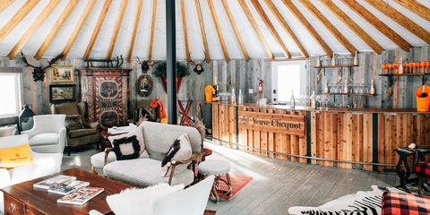 Wood, Room, Interior design, Furniture, Couch, Living room, Ceiling, Yurt, Interior design, Pillow,