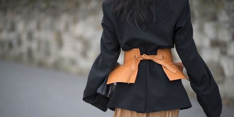 Clothing, Black, Outerwear, Street fashion, Fashion, Leather, Coat, Beige, Sleeve, Belt,