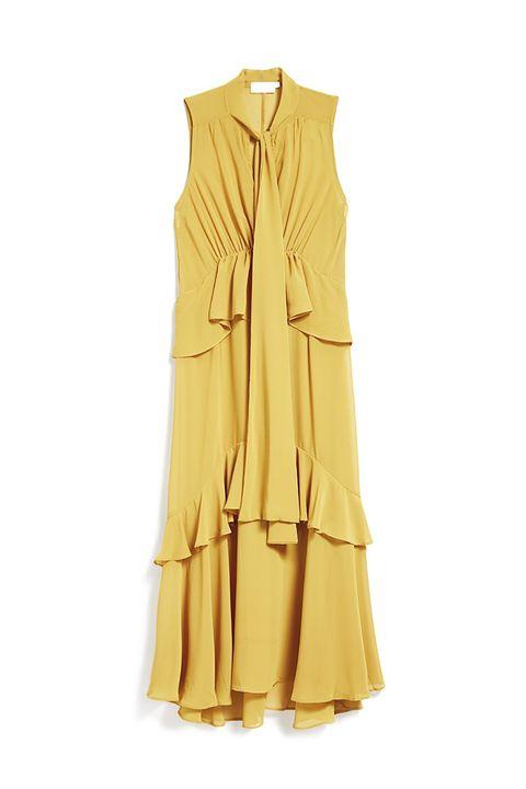 Clothing, Yellow, Dress, Day dress, Outerwear, Ruffle, Sleeveless shirt, Neck, Sleeve, Beige,
