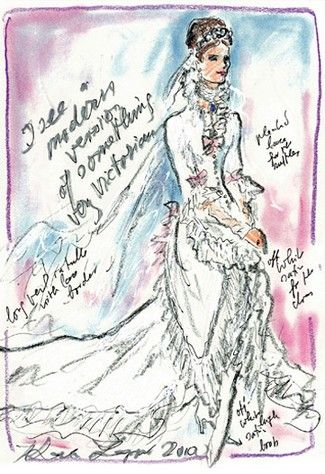 "<p>According to his quote in <a href=""http://wwd.com/fashion-news/fashion-features/gallery/designers-sketch-their-suggestions-for-kate-middletons-wedding-dress/#!1/karl-lagerfeld-suggests-a-chanel-take-on-8220the-victorian-wedding-dress-with-a-twist-8212-high-boots-and-open-in-the-front8221-3404508-portrait"" target=""_blank"" data-tracking-id=""recirc-text-link"">WWD</a><em data-redactor-tag=""em"" data-verified=""redactor"">&nbsp&#x3B;</em>circa 2010<em data-redactor-tag=""em"" data-verified=""redactor"">&nbsp&#x3B;</em><span class=""redactor-invisible-space"" data-verified=""redactor"" data-redactor-tag=""span"" data-redactor-class=""redactor-invisible-space""></span>, designer Karl Lagerfeld wanted Kate to wear something ""very Victorian""—complete with up-to-the-neck ruffles and pink bows. We're here for it.</p>"