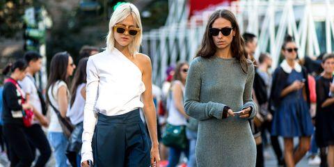 Street fashion, Fashion, Clothing, Eyewear, Sunglasses, Dress, Footwear, Shoulder, Glasses, Street,