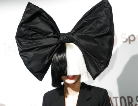 Sia Wearing A Black And White Wig