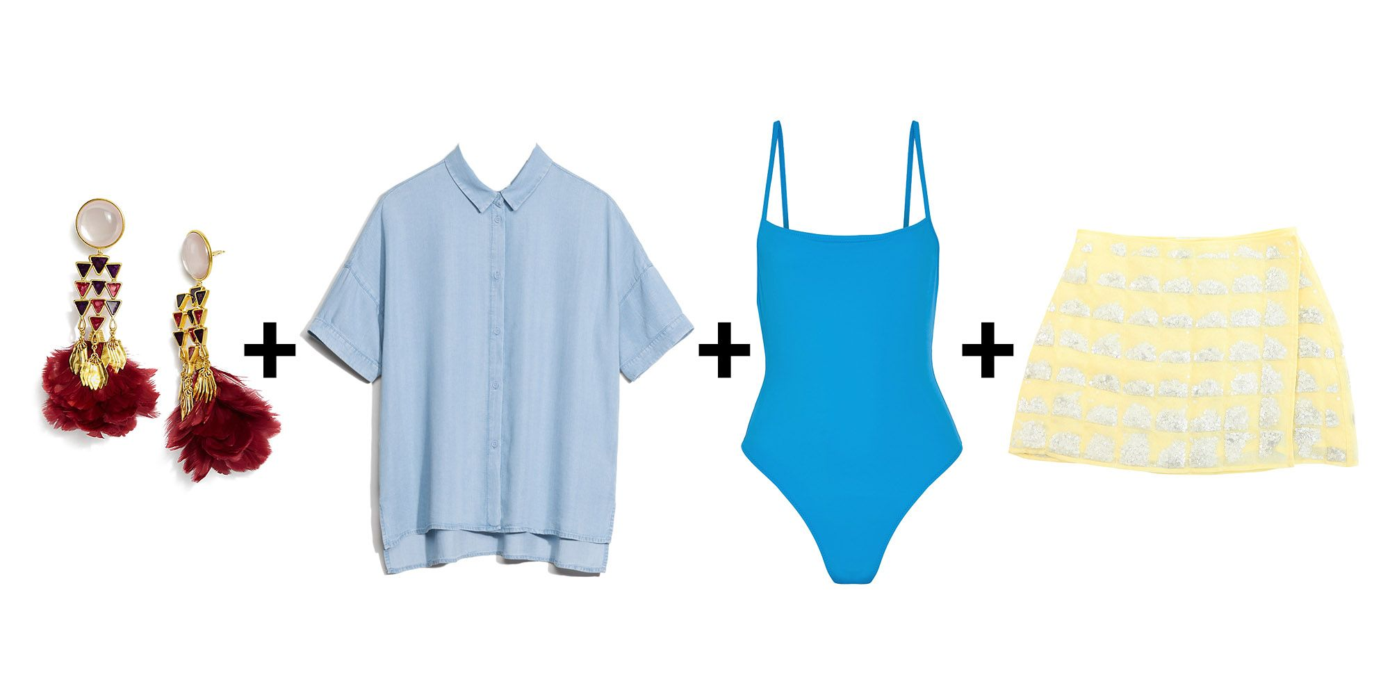 "<p>My personal favorite: Take your sun-dried swimsuit, add the skirt companion to <a href=""http://www.marieclaire.com/fashion/news/a23249/calle-del-mar-shirt-of-dreams/"" target=""_blank"" data-tracking-id=""recirc-text-link"">the most magical top ever made in the history of fashion</a>, and an open shirt for *propriety* (snickers). Oh, and fancy earrings never hurt anybody. </p><p><em data-redactor-tag=""em"" data-verified=""redactor"">Tory Burch earrings, $225, <a href=""https://www.toryburch.com/feather-chandelier-earring/34346.html?cgid=accessories-jewelry&dwvar_34346_color=611&start=16"" target=""_blank"" data-tracking-id=""recirc-text-link"">toryburch.com</a>; & Other Stories shirt, Solid & Striped swimsuit, $158, <a href=""https://www.net-a-porter.com/us/en/product/839726/solid_and_striped/the-chelsea-swimsuit"" target=""_blank"" data-tracking-id=""recirc-text-link"">net-a-porter.com</a>; Calle del Mar skirt, $310, <a href=""https://www.calledelmar.us/shop/sequin-wrap-skirt-sunshine"" target=""_blank"" data-tracking-id=""recirc-text-link"">calledelmar.us</a>. </em></p>"