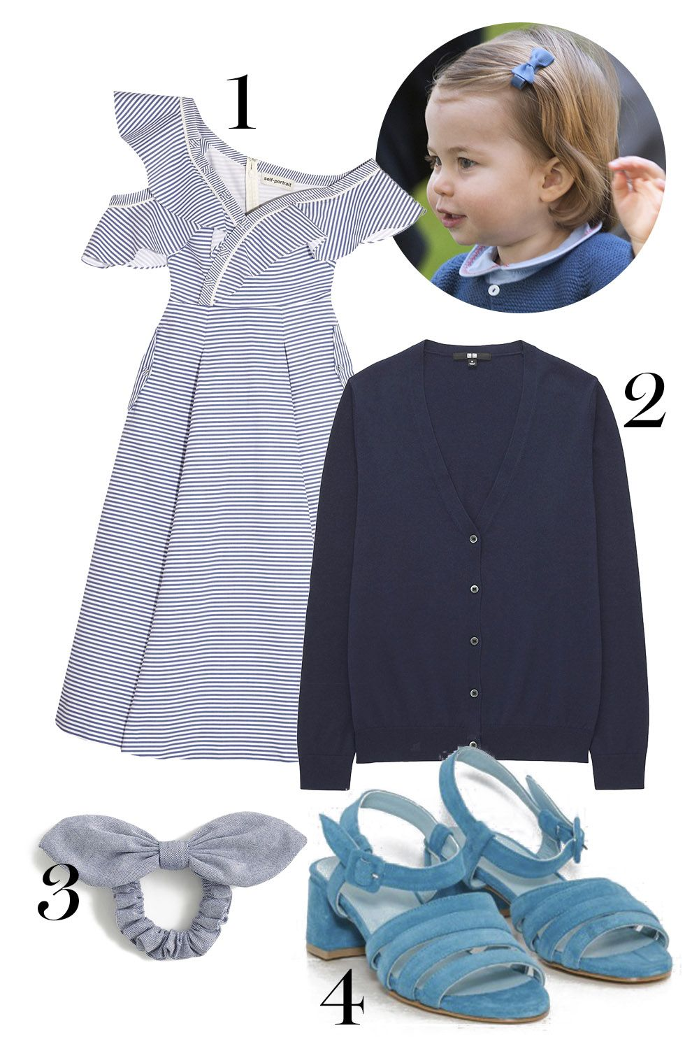 "<p>And when your parents literally rule (a corner of) the world, you can wear a chambray bow in your hair with a pretty sundress and *the* shoes all the non-royal princesses wear. (If you must, young lady, the cardi can go around your shoulders.) </p><p>1. Self-Portrait dress, $545, <a href=""https://www.net-a-porter.com/us/en/product/847847/self_portrait/off-the-shoulder-striped-cotton-poplin-midi-dress"" target=""_blank"" data-tracking-id=""recirc-text-link"">net-a-porter.com</a>.</p><p>2. Uniqlo cardigan, $20, <a href=""https://www.uniqlo.com/us/en/women-supima-cotton-v-neck-cardigan-181865.html?dwvar_181865_color=COL09&cgid=women-sweaters-cardigans#start=6&cgid=women-sweaters-cardigans"" target=""_blank"" data-tracking-id=""recirc-text-link"">uniqlo.com</a>.</p><p>3. J.Crew hair tie, $12.50, <a href=""https://www.jcrew.com/p/womens_category/accessories/hairaccessories/chambray-bow-hair-tie/G2873"" target=""_blank"" data-tracking-id=""recirc-text-link"">jcrew.com</a>.</p><p>4. Maryam Nassir Zadeh sandals, $420, <a href=""https://www.thedreslyn.com/palma-low-sandal-2.html"" target=""_blank"" data-tracking-id=""recirc-text-link"">thedreslyn.com</a>.</p>"