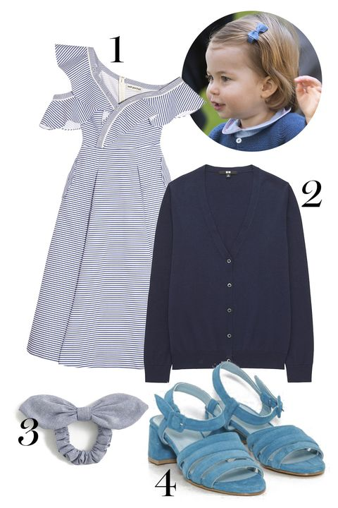 "<p>And when your parents literally rule (a corner of) the world, you can wear a chambray bow in your hair with a pretty sundress and *the* shoes all the non-royal princesses wear. (If you must, young lady, the cardi can go around your shoulders.)&nbsp;</p><p>1. Self-Portrait dress, $545, <a href=""https://www.net-a-porter.com/us/en/product/847847/self_portrait/off-the-shoulder-striped-cotton-poplin-midi-dress"" target=""_blank"" data-tracking-id=""recirc-text-link"">net-a-porter.com</a>.</p><p>2. Uniqlo cardigan, $20, <a href=""https://www.uniqlo.com/us/en/women-supima-cotton-v-neck-cardigan-181865.html?dwvar_181865_color=COL09&amp;cgid=women-sweaters-cardigans#start=6&amp;cgid=women-sweaters-cardigans"" target=""_blank"" data-tracking-id=""recirc-text-link"">uniqlo.com</a>.</p><p>3. J.Crew hair tie, $12.50, <a href=""https://www.jcrew.com/p/womens_category/accessories/hairaccessories/chambray-bow-hair-tie/G2873"" target=""_blank"" data-tracking-id=""recirc-text-link"">jcrew.com</a>.</p><p>4. Maryam Nassir Zadeh sandals, $420, <a href=""https://www.thedreslyn.com/palma-low-sandal-2.html"" target=""_blank"" data-tracking-id=""recirc-text-link"">thedreslyn.com</a>.</p>"