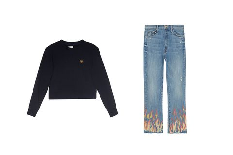"<p>This look is literally FIRE (and gives a whole new meaning to the term ""hot pants"").</p><p>Sweatshirt, $138; Insider Crop Fray jeans in Liar Liar, $268; both at <a href=""http://www.motherdenim.com"" target=""_blank"" data-tracking-id=""recirc-text-link"">motherdenim.com</a>.</p>"