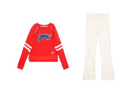 "<p>Match ivory kick-flare crops to the bands on this&nbsp;retro&nbsp;sweatshirt for a foolproof spring uniform.</p><p>Hustler Ankle Fray jeans, $208; Super Square sweatshirt, $178; both at <a href=""http://www.motherdenim.com"" target=""_blank"" data-tracking-id=""recirc-text-link"">motherdenim.com</a>.</p>"