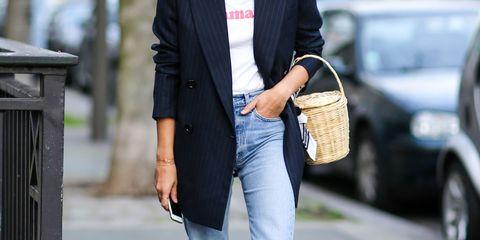 Clothing, White, Jeans, Street fashion, Blazer, Fashion, Footwear, Jacket, Outerwear, Snapshot,
