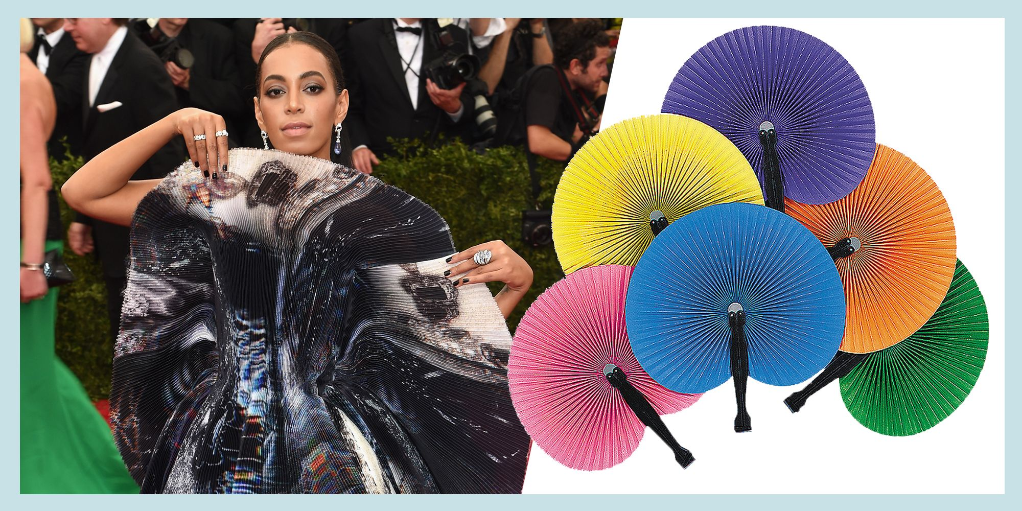 <p>It was the 2015 Met Gala. Giles Deacon made this solar-system-y dress, the likes of which we'd never seen before...unless you've encountered one of these hand fans in the wild. </p>
