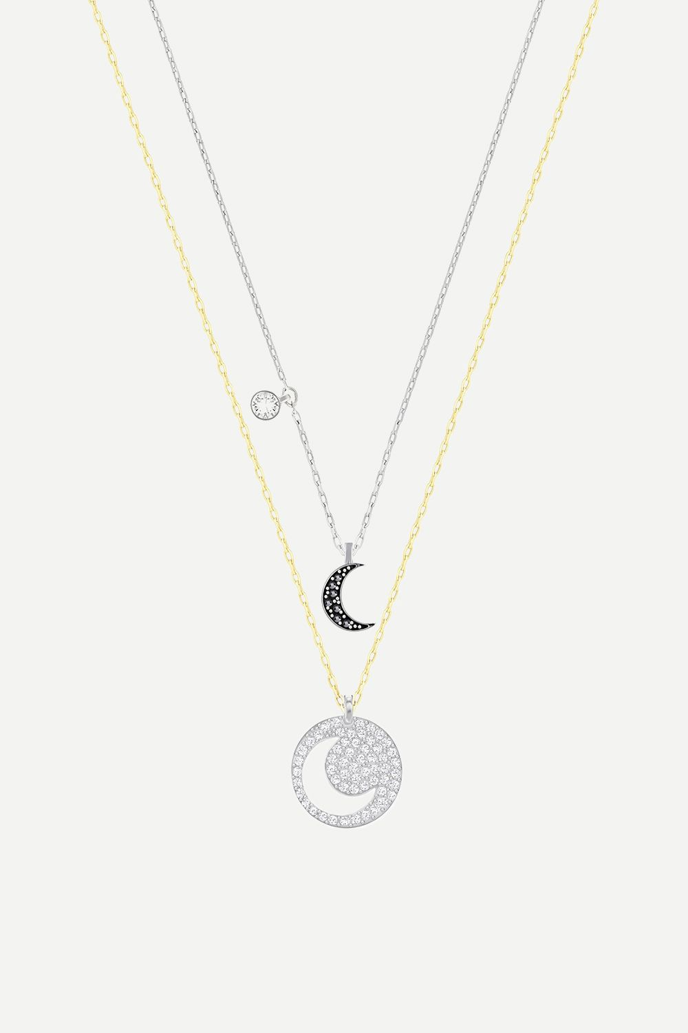 """<p>These layered pendant necklaces can be worn separate or together, for three&nbsp&#x3B;looks in one. </p><p>Swarovski crystal wishes moon set, $119&#x3B; <a href=""""https://www.swarovski.com/Web_US/en/5272242/product/Crystal_Wishes_Moon_Pendant_Set,_Black.html"""" target=""""_blank"""" data-tracking-id=""""recirc-text-link"""">swarovski.com</a></p>"""