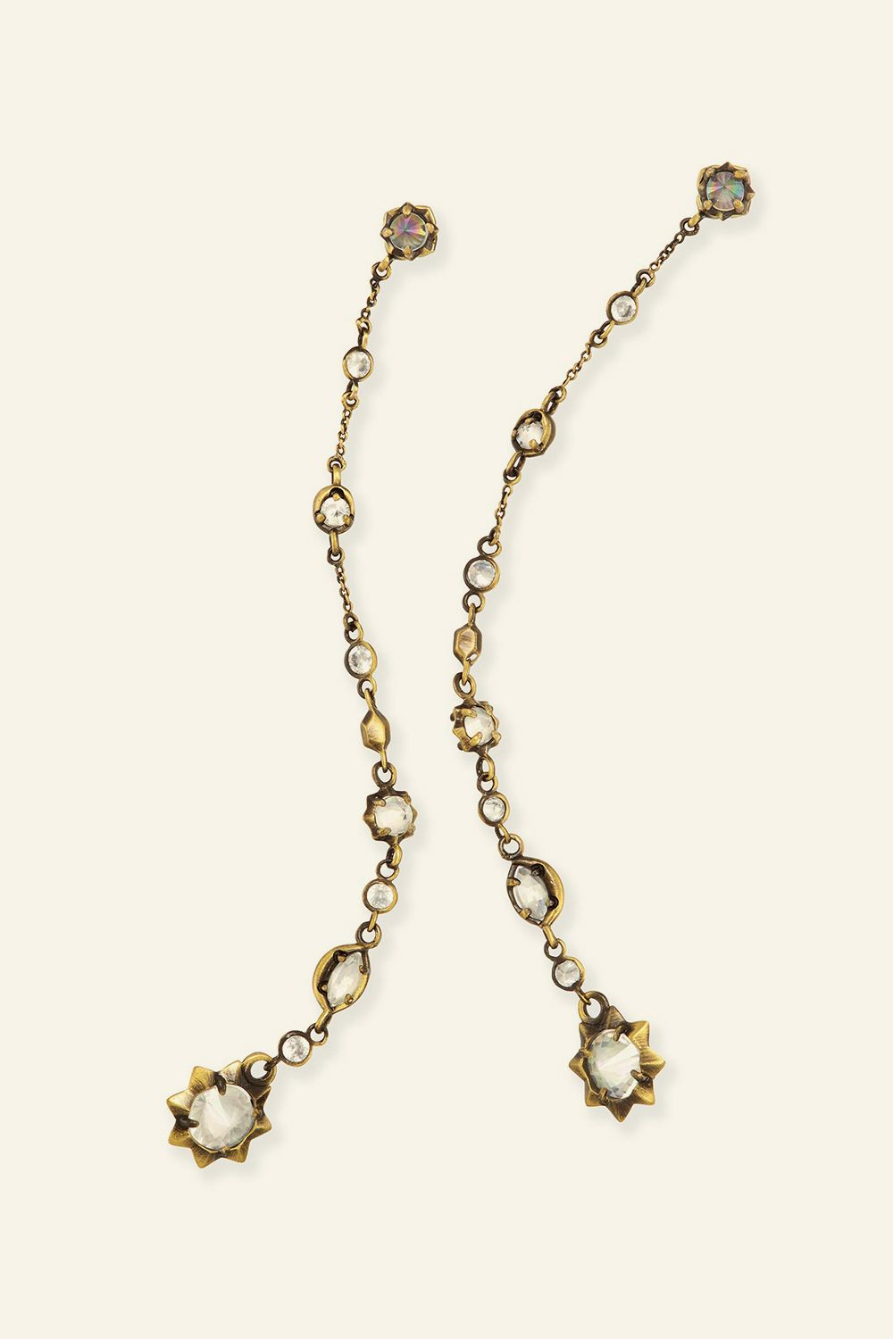 """<p>These long,&nbsp&#x3B;delicate earrings feature brass charms and iridescent stones to catch the light. </p><p>Kendra Scott Lydia Shoulder Duster Ear Jackets, $75&#x3B; <a href=""""http://www.kendrascott.com/jewelry/categories/earrings/842177143148.html"""" target=""""_blank"""" data-tracking-id=""""recirc-text-link"""">kendrascott.com</a><a href=""""http://www.kendrascott.com/jewelry/categories/earrings/842177143148.html""""></a></p>"""