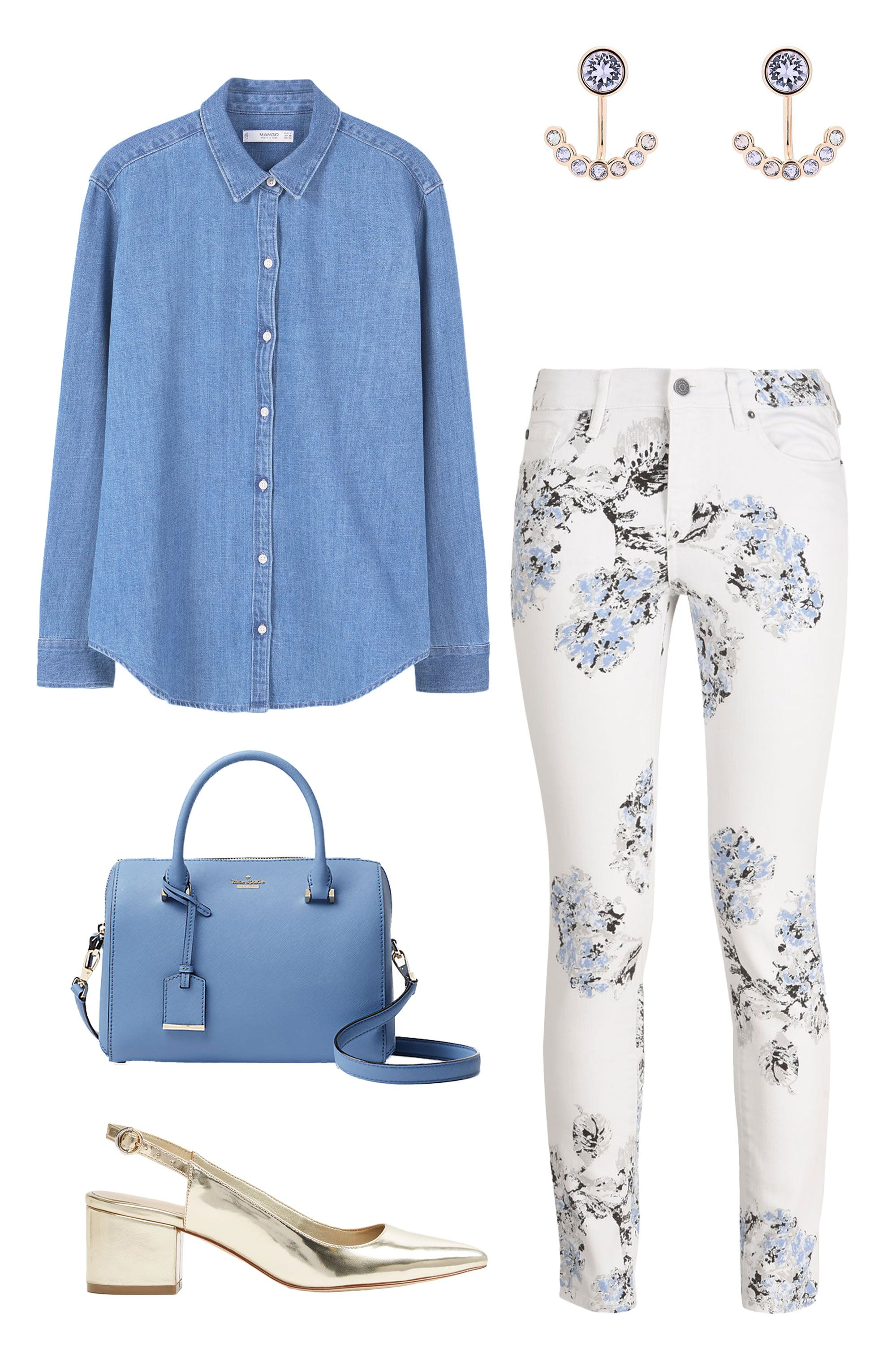 "<p>You'll soon see floral dresses aplenty around the office, but floral skinny jeans? Not so much. Tuck a chambray shirt (double denim!) into the ladylike pair, and add a boss-lady tote—plus (not too) metallic shoes and accessories. </p><p><em data-redactor-tag=""em"">Mango Light Denim Shirt, $60, <a href=""http://shop.mango.com/US/p0/women/clothing/shirts/shirts/light-denim-shirt?id=83043034_TM&n=0&ts=1491599726539"" target=""_blank"" data-tracking-id=""recirc-text-link"">mango.com</a>; <em data-redactor-tag=""em"">Ted Baker London Concentric Swarovski Crystal Ear Jackets, $59, </em><em data-redactor-tag=""em""><a href=""http://shop.nordstrom.com/s/ted-baker-london-concentric-swarovski-crystal-ear-jackets/4594811?origin=category-personalizedsort&fashioncolor=LIGHT%20BLUE"" target=""_blank"" data-tracking-id=""recirc-text-link"">nordstrom.com</a>; </em>Armani Exchange Floral Print Super Skinny Jeans, $120, <a href=""http://bit.ly/2q1l37L"" target=""_blank"" data-tracking-id=""recirc-text-link"">armaniexchange.com</a>; </em><em data-redactor-tag=""em""><em data-redactor-tag=""em"">Aldo Valterra, $60, <a href=""http://www.aldoshoes.com/us/en_US/Women/New-Arrivals/c/101/Valterra/p/50120465-82#"" target=""_blank"" data-tracking-id=""recirc-text-link"">aldoshoes.com</a>; <em data-redactor-tag=""em""><em data-redactor-tag=""em"">Kate Spade New York Cameron Street Large Lane, $278, <a href=""https://www.katespade.com/products/cameron-street-large-lane/PXRU7511.html?dwvar_PXRU7511_color=433&cgid=ks-handbags-satchels#srule=price-low-to-high&sz=99&start=5&cgid=ks-handbags-satchels"" target=""_blank"" data-tracking-id=""recirc-text-link"">katespade.com</a></em></em></em></em></p>"