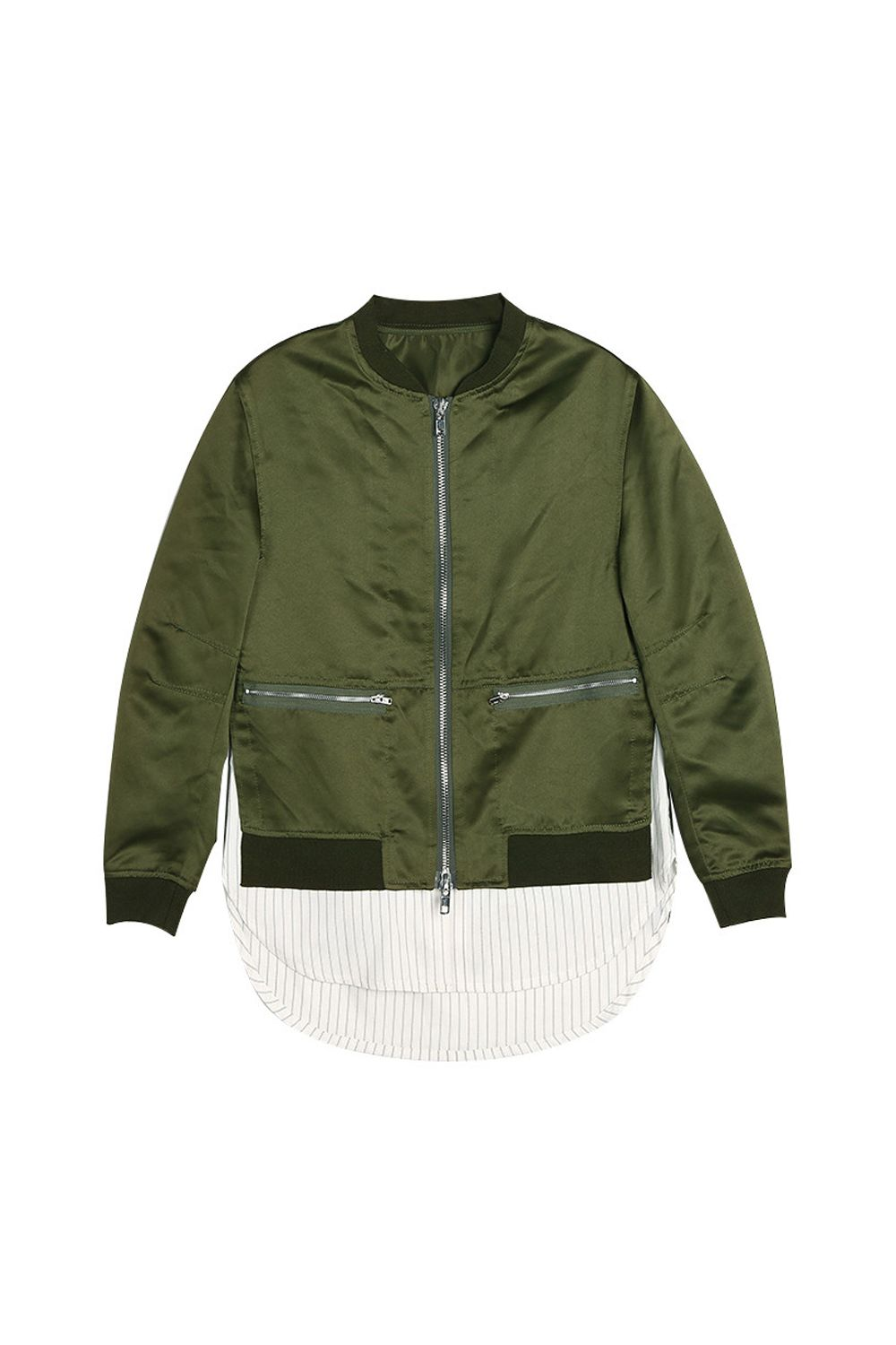"""<p>Has a shirttail attached so you don't need to wear one!</p><p>$95, <a href=""""https://genuine-people.com/collections/jackets-coats/products/silky-shirt-bomber-jacket?variant=27148285065"""" target=""""_blank"""" data-tracking-id=""""recirc-text-link"""">genuine-people.com</a>.</p>"""