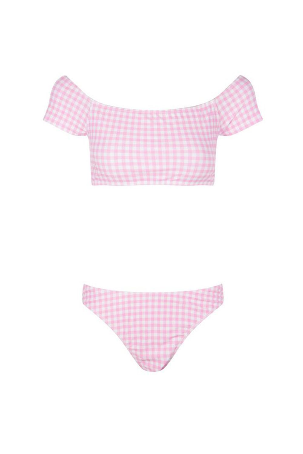 "<p>This little T-shirt swim silhouette is It this summer, and you can't beat the price (or color) of this one. </p><p>$35, <a href=""http://us.boohoo.com/hawaii-gingham-bardot-high-leg-bikini/SZZ90631.html?color=155"" target=""_blank"" data-tracking-id=""recirc-text-link"">boohoo.com</a>.</p>"