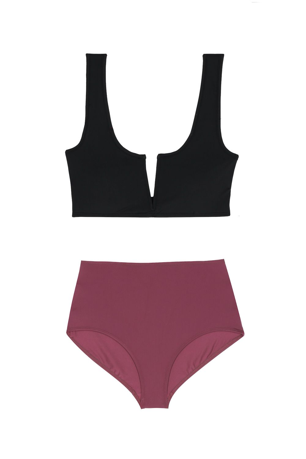 """<p>Fundamental in choosing the most flattering suit possible: sharp lines and simplicity. Thenotched neckline and belly-covering bottoms do just that.</p><p>Top, $130, <a href=""""http://www.mytheresa.com/en-us/001316-ines-bikini-top-783147.html?catref=category"""" target=""""_blank"""" data-tracking-id=""""recirc-text-link"""">mytheresa.com</a>; bottoms, $110, <a href=""""http://www.mytheresa.com/en-us/001316-high-waist-bikini-bottom-783157.html?catref=category"""" target=""""_blank"""" data-tracking-id=""""recirc-text-link"""">mytheresa.com</a>.</p>"""