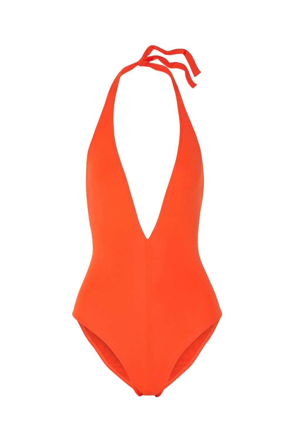 """<p>If you have to be photographed in a maillot, make it one by Eres, <a href=""""http://www.marieclaire.com/fashion/news/a21722/eres-swimsuit/"""" target=""""_blank"""" data-tracking-id=""""recirc-text-link"""">*the* unofficial outfitter of the chicest fashion girls</a>. (Aside: Retro shapes are also a good idea.)</p><p>$385, <a href=""""https://www.net-a-porter.com/us/en/product/730445/Eres/les-essentiels-cachette-halterneck-swimsuit"""" target=""""_blank"""" data-tracking-id=""""recirc-text-link"""">net-a-porter.com</a>.</p>"""
