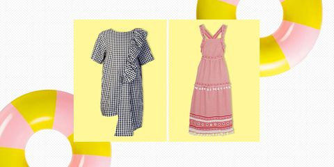 Clothing, Yellow, Dress, Day dress, Pattern, Product, Pink, Pattern, Design, Textile,
