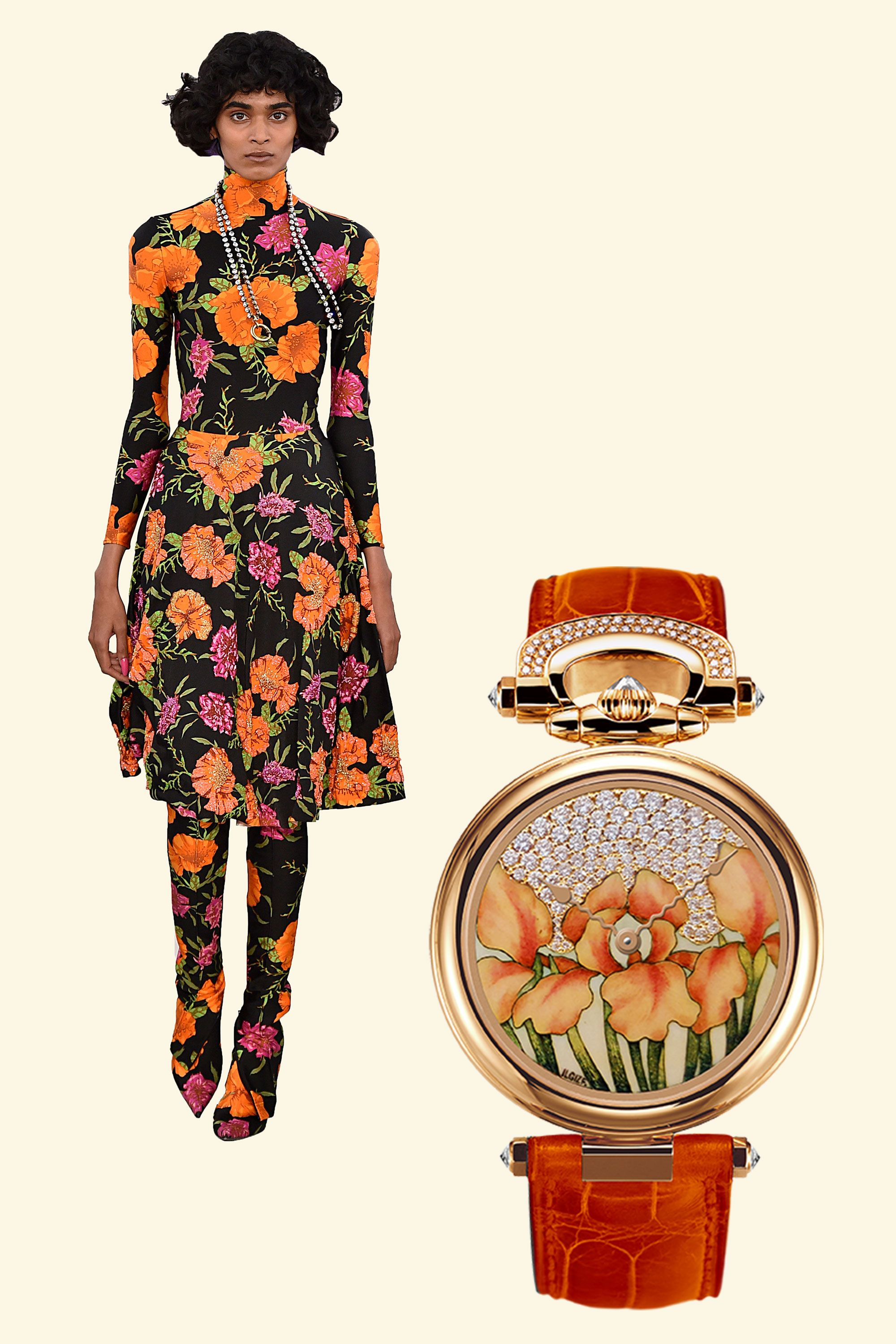 "<p>Hand-painted, bright orange enamel flowers on this timepiece mirror the wild floral patterns shown by Demna Gvasalia for Balenciaga—and even cooler, this convertible watch can be worn on the wrist or as a pendant, or even displayed as a table clock. </p><p><em data-redactor-tag=""em"" data-verified=""redactor"">1822 Orange ""Iris"" enamel miniature painting timepiece, $136,200, </em><a href=""https://www.bovet.com/timepiece/fleurier-ladies-fired-enamel-miniature-painting-by-ilgiz-f/"" target=""_blank"" data-tracking-id=""recirc-text-link""><em data-redactor-tag=""em"" data-verified=""redactor"">bovet.com</em></a></p>"