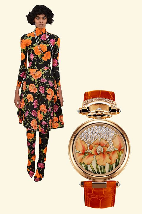 """<p>Hand-painted, bright orange enamel flowers on this timepiece mirror the wild floral patterns shown by Demna Gvasalia for Balenciaga—and even cooler, this convertible watch can be worn on the wrist or as a pendant, or even displayed as a table clock. </p><p><em data-redactor-tag=""""em"""" data-verified=""""redactor"""">1822 Orange """"Iris"""" enamel miniature painting timepiece, $136,200,&nbsp;</em><a href=""""https://www.bovet.com/timepiece/fleurier-ladies-fired-enamel-miniature-painting-by-ilgiz-f/"""" target=""""_blank"""" data-tracking-id=""""recirc-text-link""""><em data-redactor-tag=""""em"""" data-verified=""""redactor"""">bovet.com</em></a></p>"""
