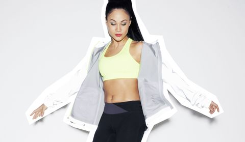 White, Clothing, Shoulder, Outerwear, Arm, Crop top, Jacket, Top, Sleeve, Sportswear,
