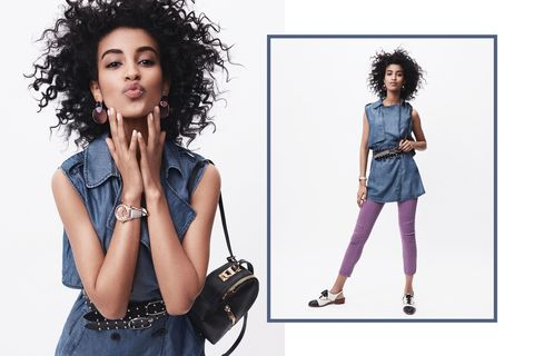 "<p>You've heard of the <a href=""http://www.marieclaire.com/fashion/news/g2835/celebrities-denim-on-denim/"" target=""_blank"" data-tracking-id=""recirc-text-link"">Canadian Tuxedo</a> (don't admit it if you haven't), but swapping a basic chambray shirt in lieu of this longline number as a tunic with a pair of poppy purple jeans takes the concept to a quirky level we love. When belted and all buttoned up—<span class=""redactor-invisible-space"" data-verified=""redactor"" data-redactor-tag=""span"" data-redactor-class=""redactor-invisible-space""></span>and topped with funky brogues, bold&nbsp;earrings, and a simple watch—<span class=""redactor-invisible-space"" data-verified=""redactor"" data-redactor-tag=""span"" data-redactor-class=""redactor-invisible-space""></span>it's just staid enough for Casual Friday<span class=""redactor-invisible-space"" data-verified=""redactor"" data-redactor-tag=""span"" data-redactor-class=""redactor-invisible-space""> at the</span> office (lilac pants and colored lens sunglasses optional.)</p>"